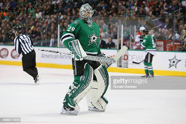 Anders Lindback of the Dallas Stars at American Airlines Center on November 18 2014 in Dallas Texas