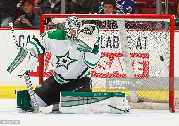 Anders Lindback of the Dallas Stars looks on from his crease during their NHL game against the Vancouver Canucks at Rogers Arena December 17 2014 in...