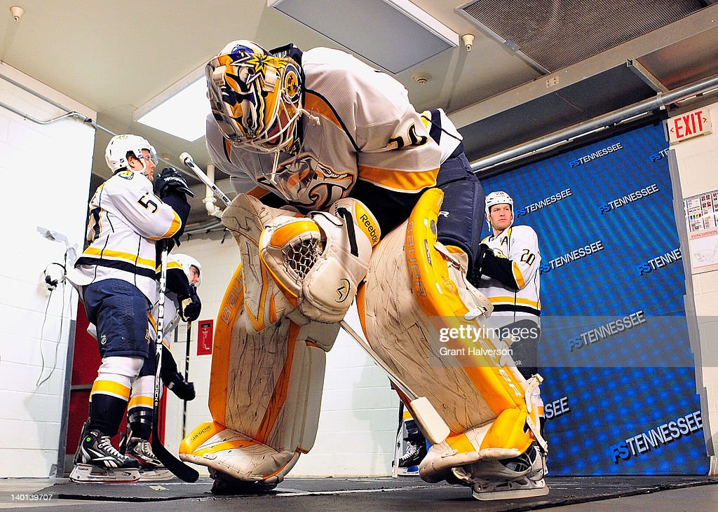 <a gi-track='captionPersonalityLinkClicked' href=/galleries/search?phrase=Anders+Lindback&family=editorial&specificpeople=7211274 ng-click='$event.stopPropagation()'>Anders Lindback</a> #39 of the Nashville Predators waits to lead his team onto the ice for a game against the Carolina Hurricanes at the RBC Center on February 28, 2012 in Raleigh, North Carolina. The Hurricanes won 4-3.