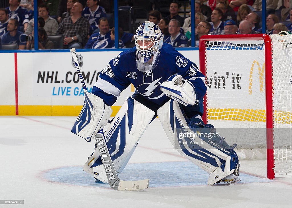 <a gi-track='captionPersonalityLinkClicked' href=/galleries/search?phrase=Anders+Lindback&family=editorial&specificpeople=7211274 ng-click='$event.stopPropagation()'>Anders Lindback</a> #39 of the Tampa Bay Lightning defends the goal against the Washington Capitals at the Tampa Bay Times Forum on January 19, 2013 in Tampa, Florida.