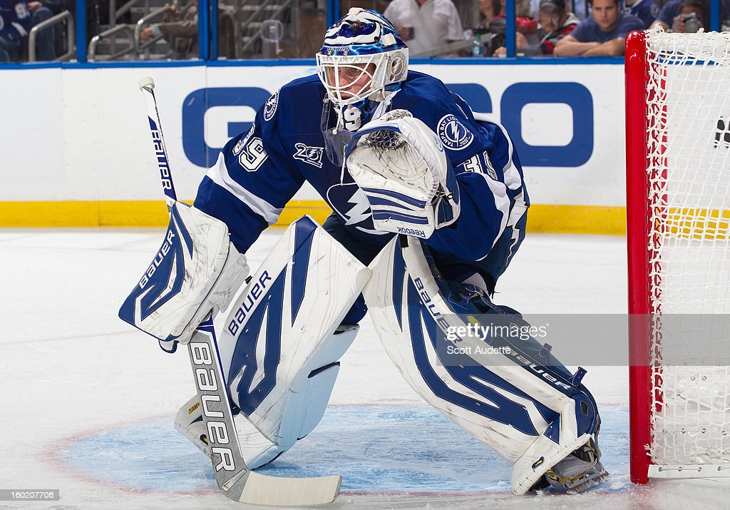 <a gi-track='captionPersonalityLinkClicked' href=/galleries/search?phrase=Anders+Lindback&family=editorial&specificpeople=7211274 ng-click='$event.stopPropagation()'>Anders Lindback</a> #39 of the Tampa Bay Lightning defends the goal against the Philadelphia Flyers during the second period of an NHL game at the Tampa Bay Times Forum on January 27, 2013 in Tampa, Florida.