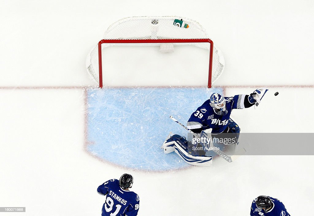 <a gi-track='captionPersonalityLinkClicked' href=/galleries/search?phrase=Anders+Lindback&family=editorial&specificpeople=7211274 ng-click='$event.stopPropagation()'>Anders Lindback</a> #39 of the Tampa Bay Lightning makes a glove save during the first period against the Ottawa Senators at the Tampa Bay Times Forum on January 25, 2013 in Tampa, Florida.