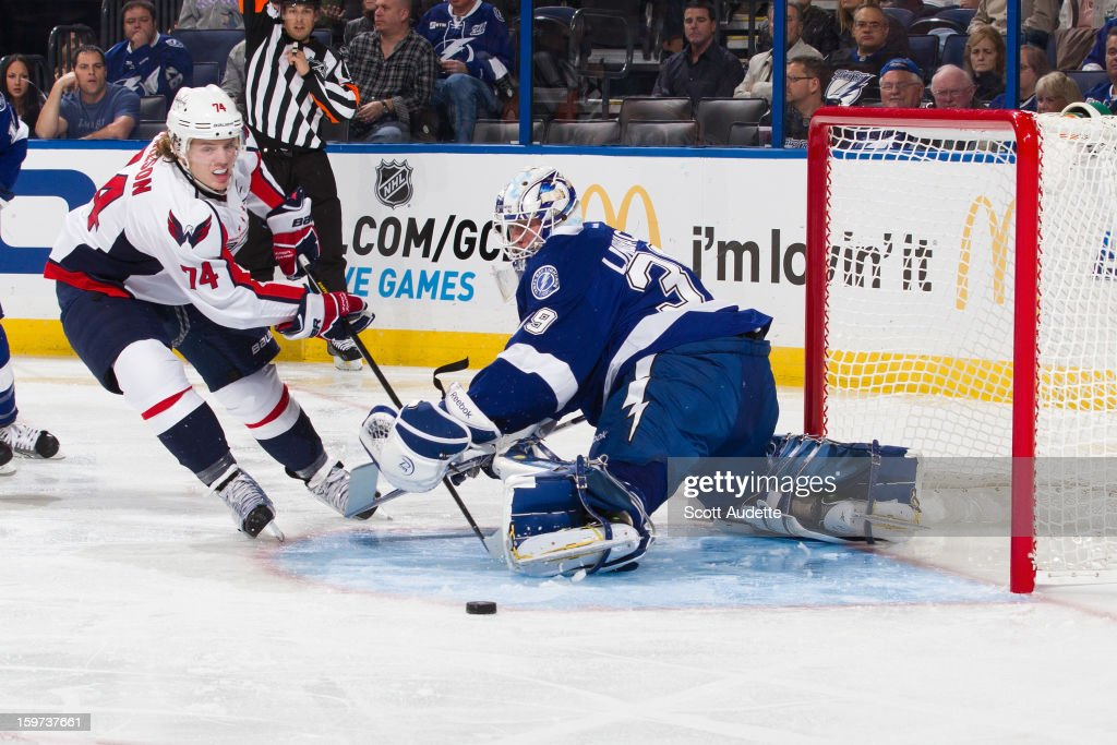 <a gi-track='captionPersonalityLinkClicked' href=/galleries/search?phrase=Anders+Lindback&family=editorial&specificpeople=7211274 ng-click='$event.stopPropagation()'>Anders Lindback</a> #39 of the Tampa Bay Lightning makes a save against John Carlson #74 of the Washington Capitals at the Tampa Bay Times Forum on January 19, 2013 in Tampa, Florida.