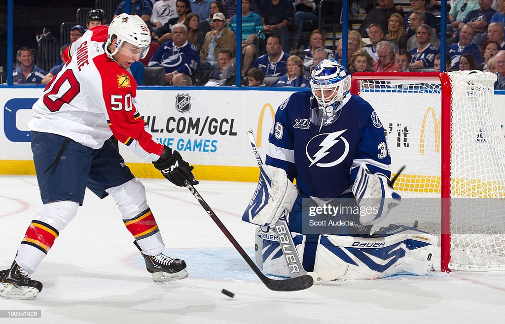 <a gi-track='captionPersonalityLinkClicked' href=/galleries/search?phrase=Anders+Lindback&family=editorial&specificpeople=7211274 ng-click='$event.stopPropagation()'>Anders Lindback</a> #39 of the Tampa Bay Lightning makes a save on Drew Shore #50 of the Florida Panthers at the Tampa Bay Times Forum on January 29, 2013 in Tampa, Florida.