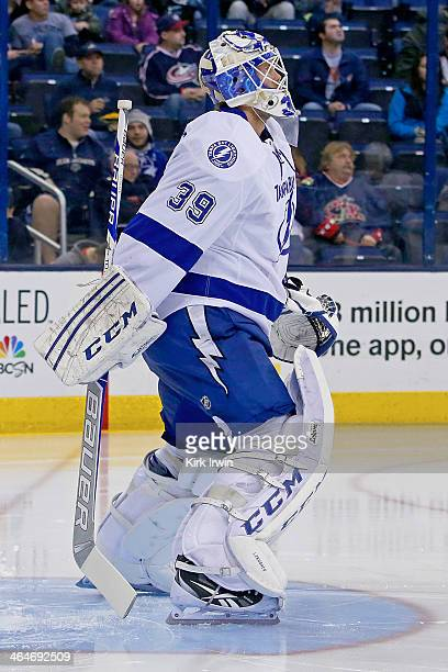 Anders Lindback of the Tampa Bay Lightning prepares for the start of the second period against the Columbus Blue Jackets on January 13 2014 at...