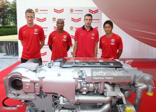 Anders Lindegaard Ashley Young Robin van Persie and Shinji Kagawa of Manchester United pose at a press event for Yanmar on July 25 2013 in Osaka Japan