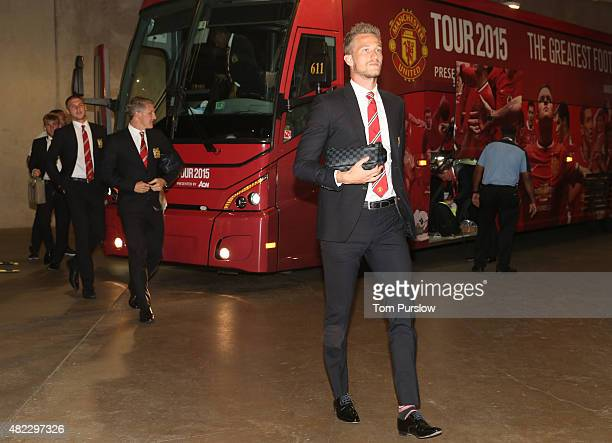 Anders Lindegaard of Manchester United arrives ahead of the International Champions Cup 2015 match between Manchester United and Paris Saint Germain...