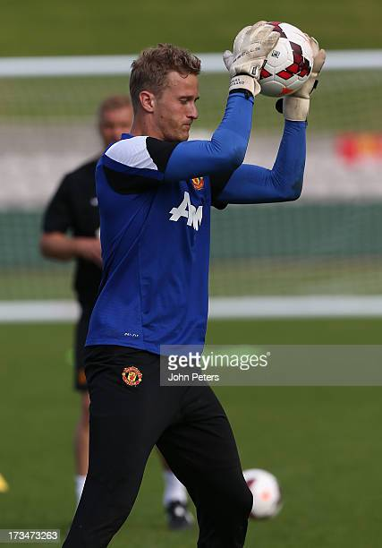 Anders Lindegaard of Manchester United in action during a first team training session at Kogarah as part of their preseason tour of Bangkok Australia...