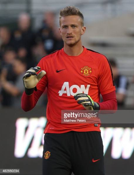 Anders Lindegaard of Manchester United in action during an open training session as part of their preseason tour to the United States at Rose Bowl on...