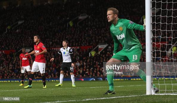 Anders Lindegaard of Manchester United in action during the Capital One Cup Fourth Round match between Manchester United and Norwich City at Old...