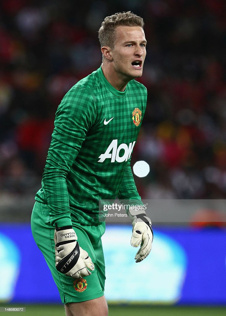 Anders Lindegaard of Manchester United in action during the pre-season friendly between AmaZulu FC and Manchester United at Moses Mabhida Stadium on July 18, 2012 in Durban, South Africa.