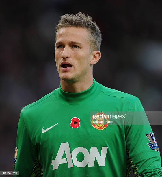 Anders Lindegaard of Manchester United looks on during the Barclays Premier League match between Manchester United and Sunderland at Old Trafford on...