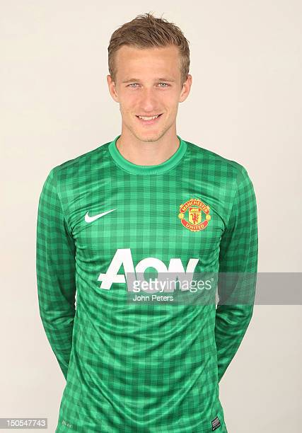 Anders Lindegaard of Manchester United poses in the new Manchester United kit at Carrington Training Ground on August 21 2012 in Manchester England