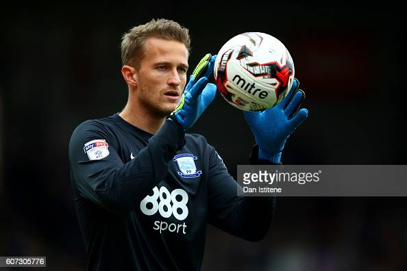 Anders Lindegaard of Preston North End catches the ball during the Sky Bet Championship match between Brentford and Preston North End at Griffin Park...