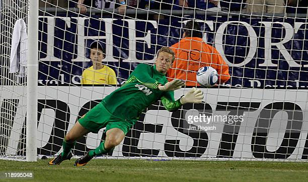 Anders Lindegaard of the Manchester United makes a save during a friendly match against the New England Revolution during a friendly match at...