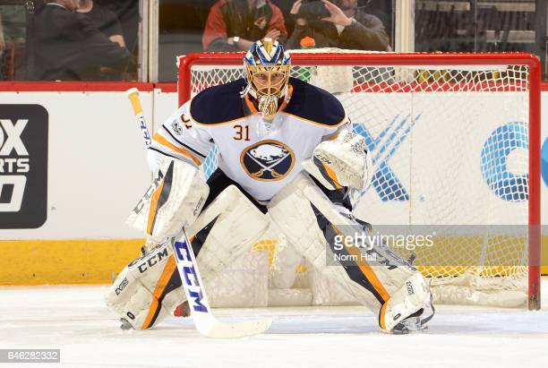 Anders Nilsson of the Buffalo Sabres gets ready to make a save against the Arizona Coyotes at Gila River Arena on February 26 2017 in Glendale Arizona