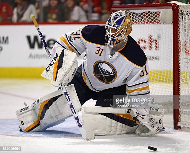Anders Nilsson of the Buffalo Sabres makes a save against the Chicago Blackhawks at the United Center on January 5 2017 in Chicago Illinois The...