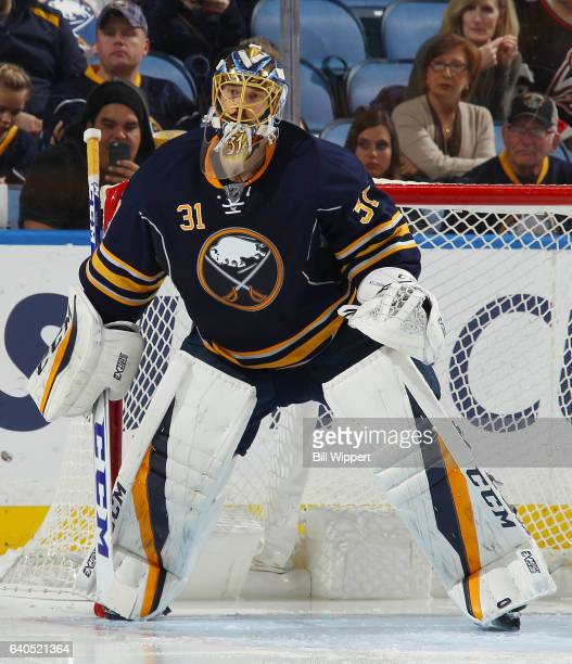 Anders Nilsson of the Buffalo Sabres tends goal against the Detroit Red Wings during an NHL game at the KeyBank Center on January 20 2017 in Buffalo...