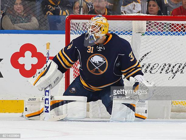 Anders Nilsson of the Buffalo Sabres tends goal against the Florida Panthers during an NHL game at the KeyBank Center on October 29 2016 in Buffalo...