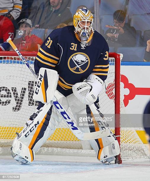 Anders Nilsson of the Buffalo Sabres warms up before playing against the Montreal Canadiens in an NHL game at the KeyBank Center on October 13 2016...