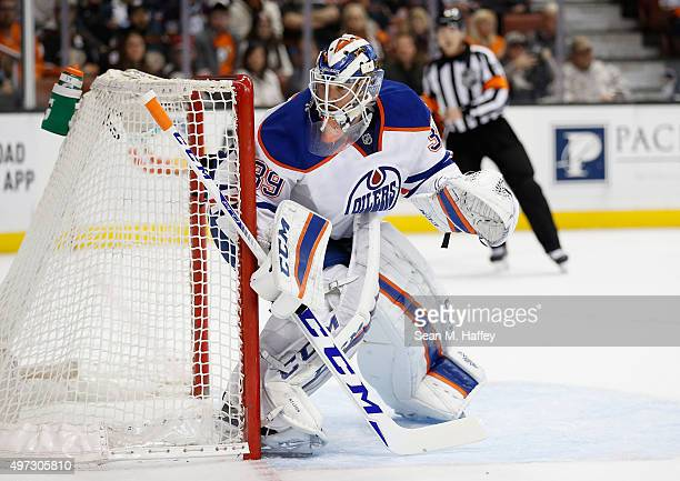 Anders Nilsson of the Edmonton Oilers defends his goal during a game against the Anaheim Ducks at Honda Center on November 11 2015 in Anaheim...