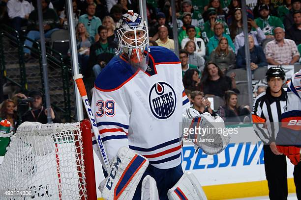 Anders Nilsson of the Edmonton Oilers tends goal against the Dallas Stars at the American Airlines Center on October 13 2015 in Dallas Texas