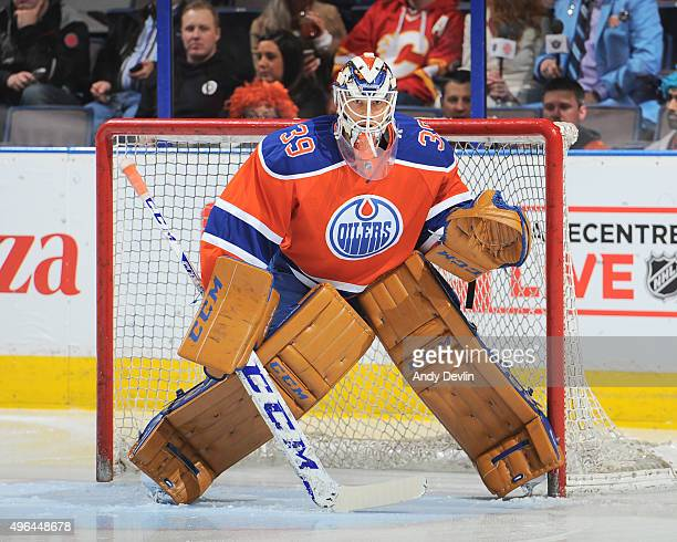 Anders Nilsson of the Edmonton Oilers warms up prior to a game against the Calgary Flames on October 31 2015 at Rexall Place in Edmonton Alberta...
