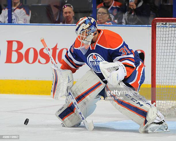 Anders Nilsson of the Edmonton Oilers warms up prior to a game against the Pittsburgh Penguins on November 6 2015 at Rexall Place in Edmonton Alberta...