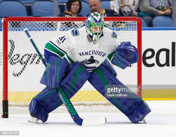 Anders Nilsson of the Vancouver Canucks before the game against the Buffalo Sabres at the KeyBank Center on October 20 2017 in Buffalo New York