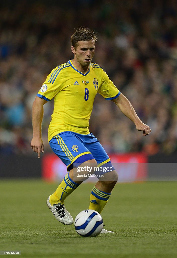 <a gi-track='captionPersonalityLinkClicked' href=/galleries/search?phrase=Anders+Svensson&family=editorial&specificpeople=167083 ng-click='$event.stopPropagation()'>Anders Svensson</a> of Sweden in action during the FIFA 2014 World Cup Qualifying Group C match between Republic of Ireland and Sweden at Aviva Stadium on September 6, 2013 in Dublin, Ireland.