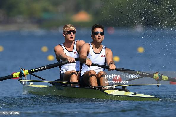 Anders Weiss and Nareg Guregian of the United States compete during the Men's Pair Heat 1 on Day 1 of the Rio 2016 Olympic Games at the Lagoa Stadium...