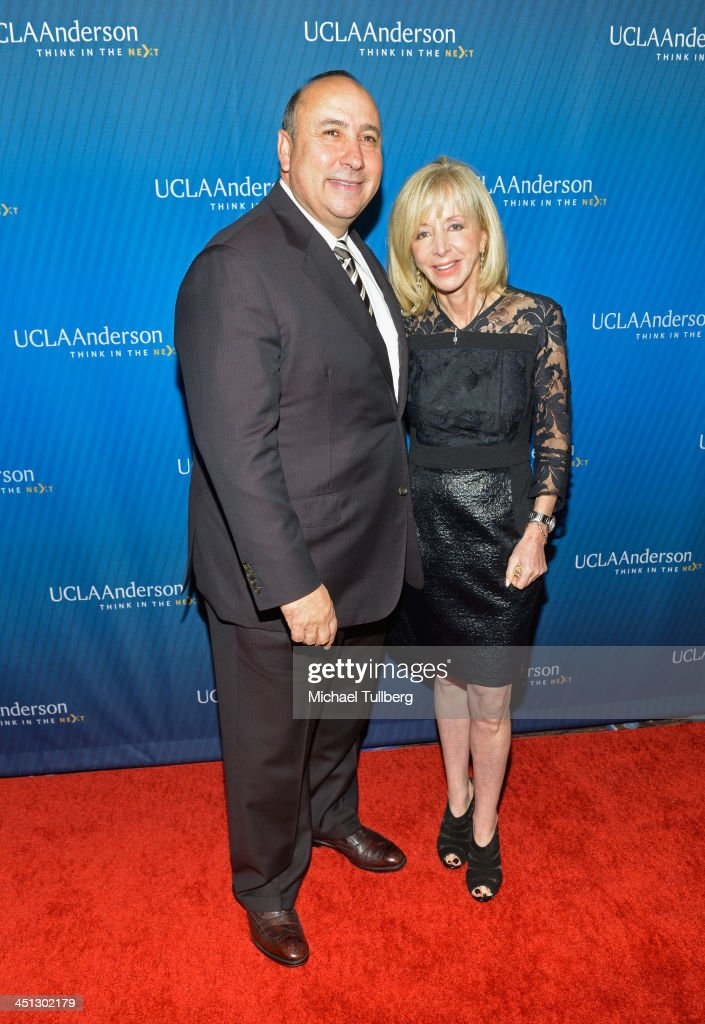 Anderson Athletic Director Dan Guerrero and UCLA Anderson Dean Judy Olian attend the 2013 John Wooden Global Leadership Awards hosted by the UCLA Anderson School of Management at The Beverly Hilton Hotel on November 21, 2013 in Beverly Hills, California.