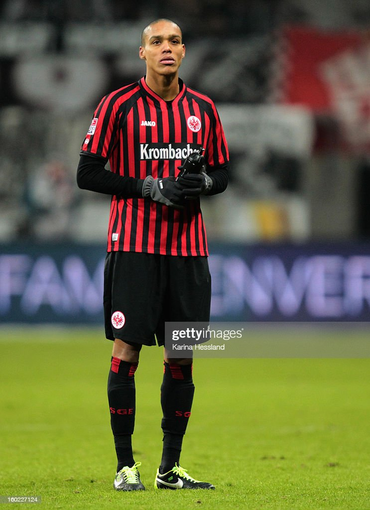 <a gi-track='captionPersonalityLinkClicked' href=/galleries/search?phrase=Anderson+Bamba&family=editorial&specificpeople=8659788 ng-click='$event.stopPropagation()'>Anderson Bamba</a> of Frankfurt during the Bundesliga match between Eintracht Frankfurt and 1899 Hoffenheim at Commerzbank-Arena on January 26, 2013 in Frankfurt am Main, Germany.
