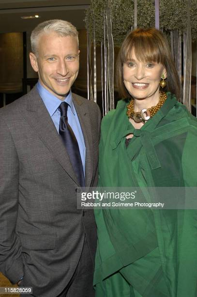 Anderson Cooper and Gloria Vanderbilt during Tiffany's 'Silver Jewelry' Party at Tiffany Store in New York New York United States