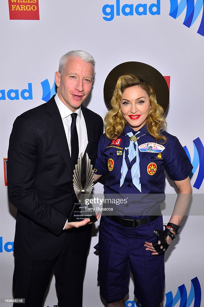 <a gi-track='captionPersonalityLinkClicked' href=/galleries/search?phrase=Anderson+Cooper&family=editorial&specificpeople=226776 ng-click='$event.stopPropagation()'>Anderson Cooper</a> and <a gi-track='captionPersonalityLinkClicked' href=/galleries/search?phrase=Madonna+-+Singer&family=editorial&specificpeople=156408 ng-click='$event.stopPropagation()'>Madonna</a> poses backstage at the 24th Annual GLAAD Media Awards on March 16, 2013 in New York City.