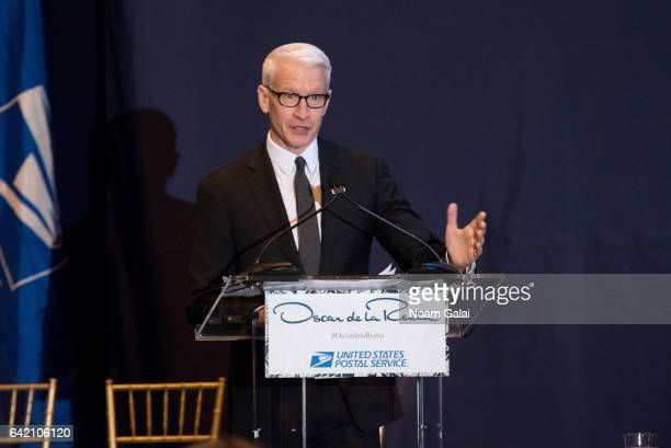 Anderson Cooper speaks at the Oscar de la Renta Forever Stamp dedication ceremony at Grand Central Terminal on February 16 2017 in New York City