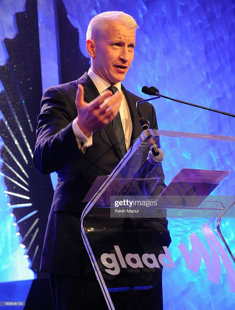 <a gi-track='captionPersonalityLinkClicked' href=/galleries/search?phrase=Anderson+Cooper&family=editorial&specificpeople=226776 ng-click='$event.stopPropagation()'>Anderson Cooper</a> speaks onstage at the 24th Annual GLAAD Media Awards at Marriot Marquis on March 16, 2013 in New York City.