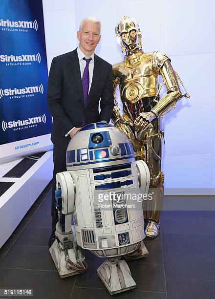 Anderson Cooper with R2D2 and C3PO visit at SiriusXM Studio on April 4 2016 in New York City