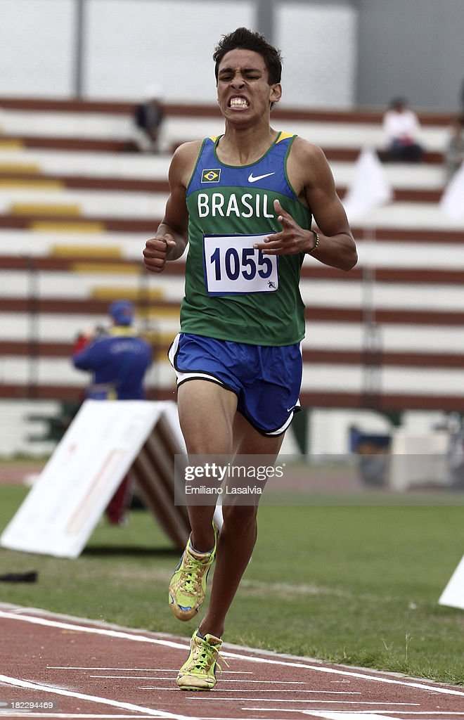 Anderson Dantas of Brazil competes during Men's 2000m Steeplechase event as part of the I ODESUR South American Youth Games at Estadio Miguel Grau on September 29, 2013 in Lima, Peru.