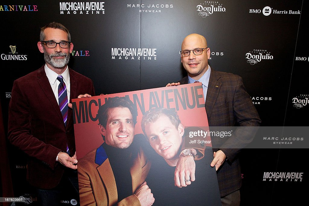 J.P. Anderson, Editor-In-Chief of Michigan Avenue Magazine, and Dan Uslan, President and Publisher of Michigan Avenue Magazine, attend Michigan Avenue Magazine November Cover Celebration Hosted By Chicago Blackhawks' Patrick Sharp & Patrick Kane at Carnivale on November 12, 2013 in Chicago, Illinois.