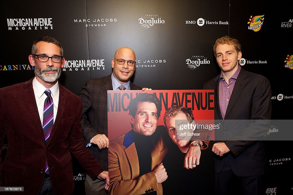 J.P. Anderson, Editor-In-Chief of Michigan Avenue Magazine, Dan Uslan, President and Publisher of Michigan Avenue Magazine, and Patrick Kane attend Michigan Avenue Magazine November Cover Celebration Hosted By Chicago Blackhawks' Patrick Sharp & Patrick Kane at Carnivale on November 12, 2013 in Chicago, Illinois.