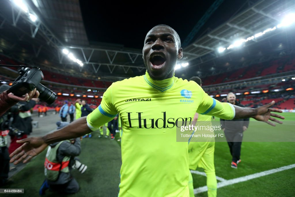 Anderson Esitia of Gent celebrates after the UEFA Europa League Round of 32 second leg match between Tottenham Hotspur and KAA Gent at Wembley Stadium on February 23, 2017 in London, United Kingdom.