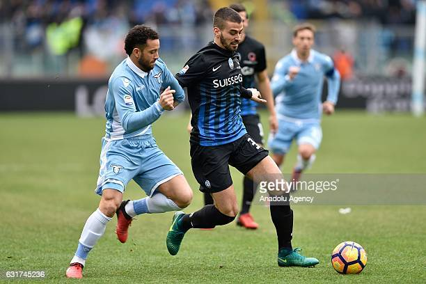 Anderson Felipe of SS Lazio in action against Leandro Spinazzola of Atalanta during the Italian Serie A soccer match between SS Lazio and Atalanta at...