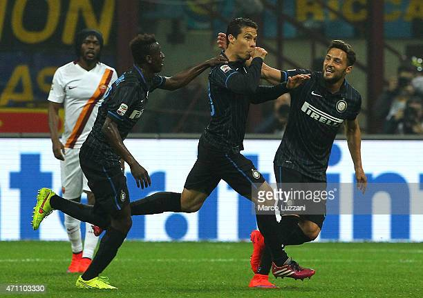 Anderson Hernanes of FC Internazionale Milano celebrates with his teammates after scoring the opening goal Assane Gnoukouri and Danilo D Amombrosio...