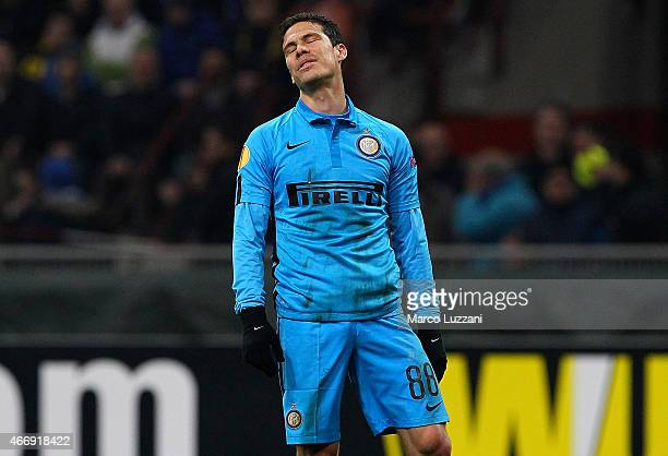 Anderson Hernanes of FC Internazionale Milano reacts during the UEFA Europa League Round of 16 match between FC Internazionale Milano and VfL...