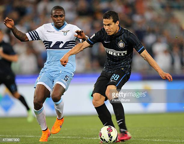 Anderson Hernanes of FC Internazionale Milano scores the team's second goal during the Serie A match between SS Lazio and FC Internazionale Milano at...