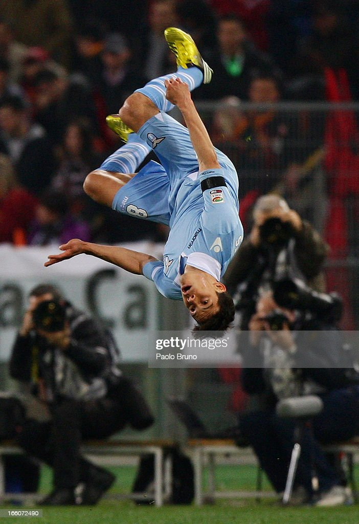 Anderson Hernanes of S.S. Lazio celebrates after scoring the opening goal during the Serie A match between AS Roma and S.S. Lazio at Stadio Olimpico on April 8, 2013 in Rome, Italy.