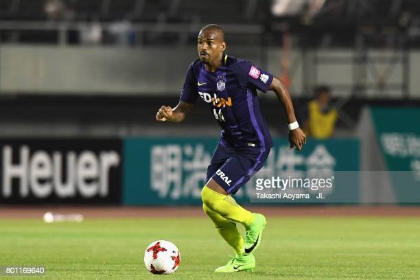 Anderson Lopes of Sanfrecce Hiroshima in action during the JLeague J1 match between Sanfrecce Hiroshima and Omiya Ardija at Edion Stadium on June 25...