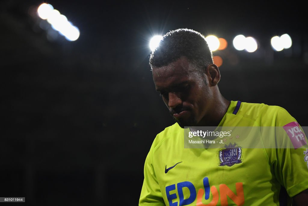 Anderson Lopes of Sanfrecce Hiroshima shows dejeciton after his side's 0-1 defeat in the J.League J1 match between Vegalta Sendai and Sanfrecce Hiroshima at Yurtex Stadium Sendai on August 13, 2017 in Sendai, Miyagi, Japan.
