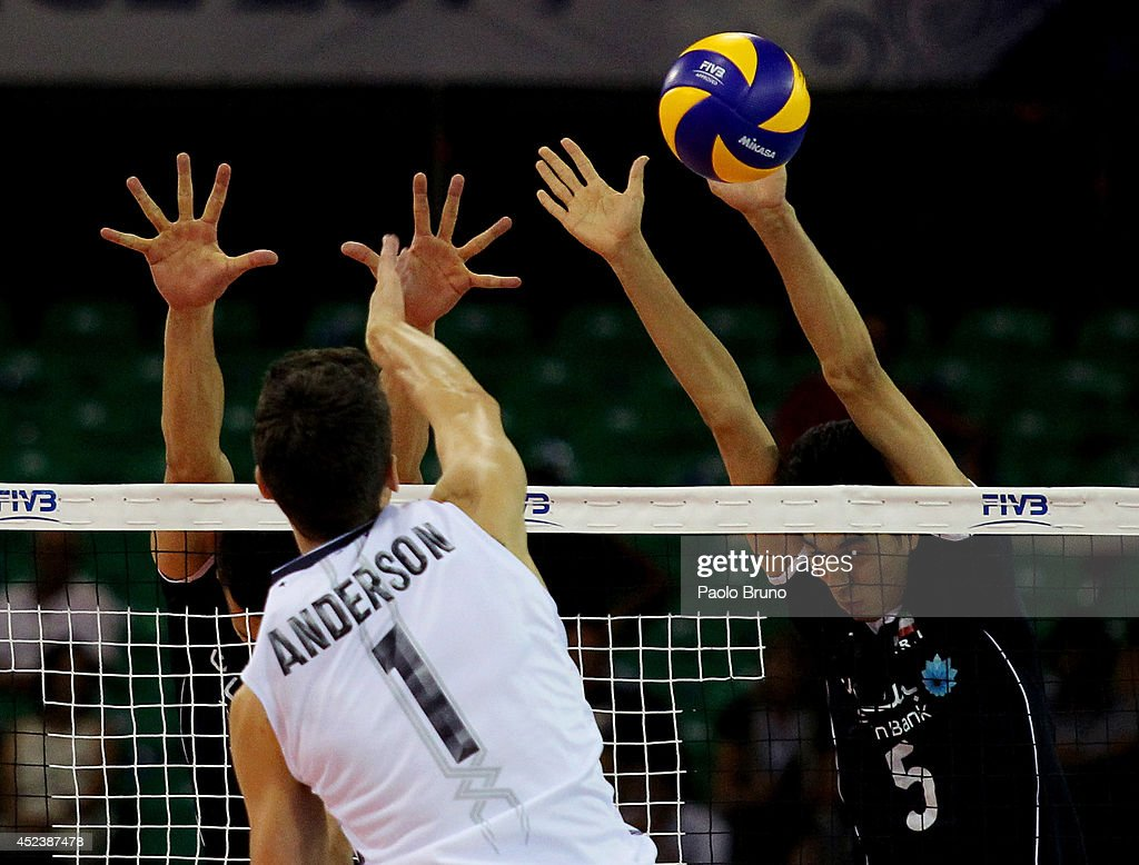 Anderson Matthew of United States Spikes the ball during the FIVB World League Final Six semifinal match between Iran and United States at Mandela Forum on July 19, 2014 in Florence, Italy.